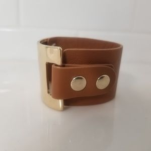 Icings Faux Leather Brown Wrist Cuff Bracelet